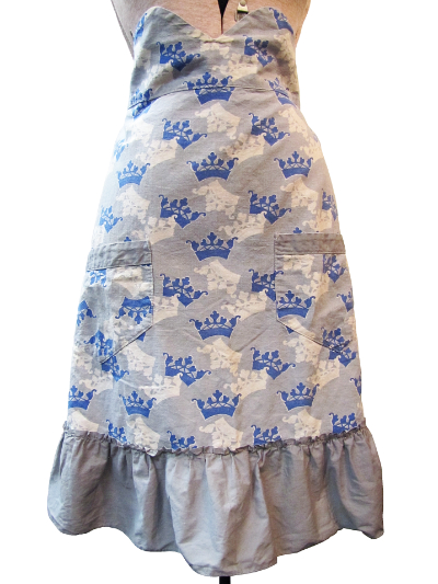 Vintage Apron—Gray with Blue and White Crowns MAIN