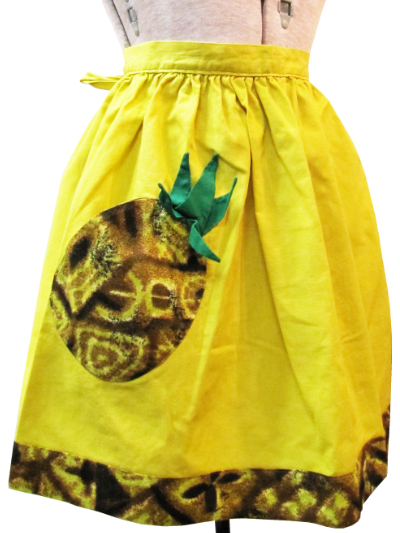 Vintage Apron—Yellow and Brown with Pineapple MAIN