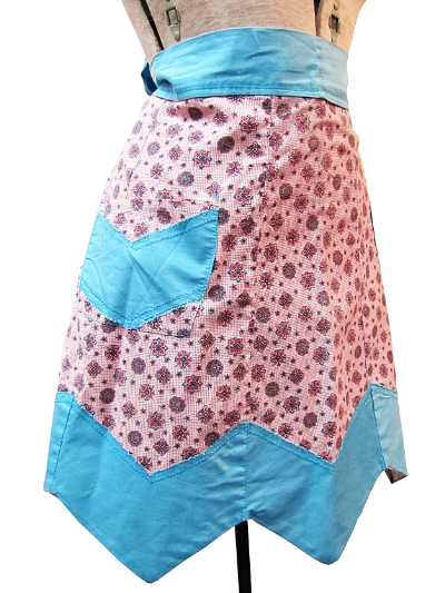 Vintage Apron—Pink and Light Blue MAIN