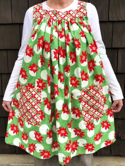 Popover Pinafore Apron — Poinsettias MAIN