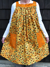 Popover Pinafore Apron — Sunflowers with Gold Accent Fabric THUMBNAIL