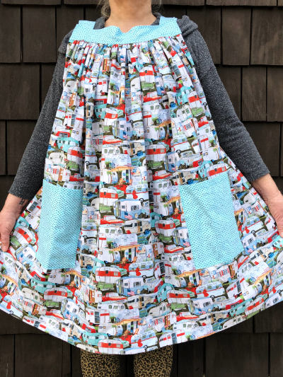 Popover Pinafore Apron — Trailers with Light Blue Accent Fabric MAIN