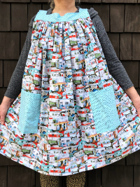 Popover Pinafore Apron — Trailers with Light Blue Accent Fabric THUMBNAIL
