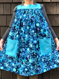 Popover Pinafore Apron — Flowers and Butterflies on Dark Blue with Turquoise Accent Fabric THUMBNAIL