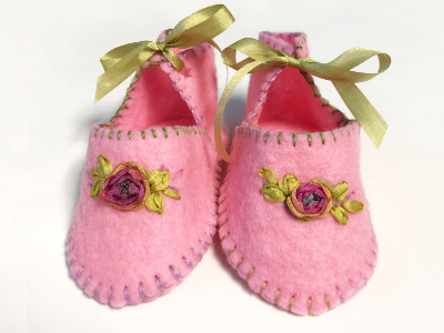 Baby Booties – Pink and Green MAIN