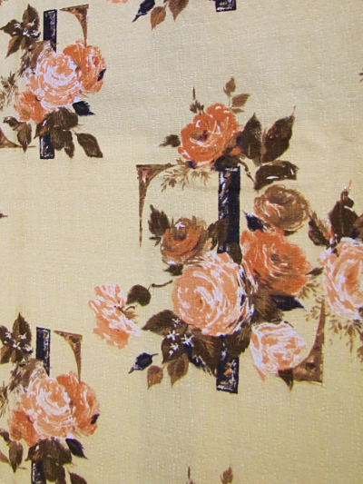 Light Camel Vintage Barkcloth with Peach Roses MAIN