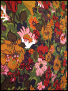 Green Vintage Barkcloth with Deep Red, Orange and Pink Flowers SWATCH