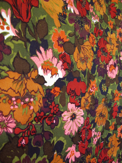 Green Vintage Barkcloth with Deep Red, Orange and Pink Flowers MAIN