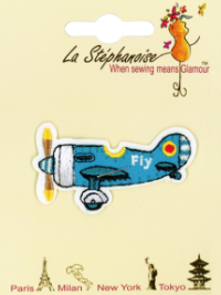 Blue Airplane Appliqué by La Stéphanoise - # 15803 col. 004 THUMBNAIL