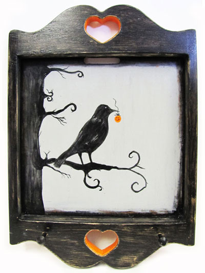 Hand Painted Key Holder with Spooky Raven and Jack-O'-Lantern Halloween Artwork MAIN