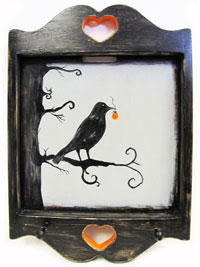 Hand Painted Key Holder with Spooky Raven and Jack-O'-Lantern Halloween Artwork THUMBNAIL