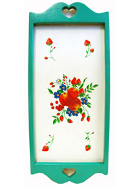 Hand Painted Wall Hanging or Tray with Seafoam Border and Fruit and Flower Artwork THUMBNAIL