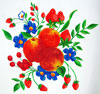 Hand Painted Wall Hanging or Tray with Seafoam Border and Fruit and Flower Artwork SWATCH