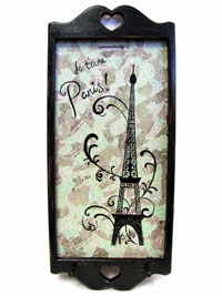 Hand Painted Decoupage Wall Hanging Key Holder with Paris Artwork THUMBNAIL
