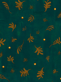 "QT Fabrics ""His Majesty - The Tree"" # 27561-F Forest - Gold Tree Sprigs on Forest Green THUMBNAIL"