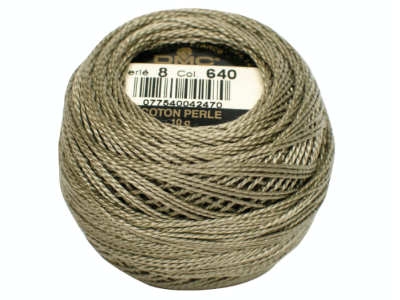 DMC #8 Perle Cotton Ball – Col. 640 Light Army Green MAIN