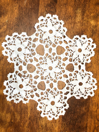 Vintage Crocheted Six Point Floral Doily THUMBNAIL