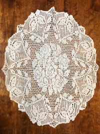 Vintage Crocheted Oval Doily with Roses and Butterflies THUMBNAIL