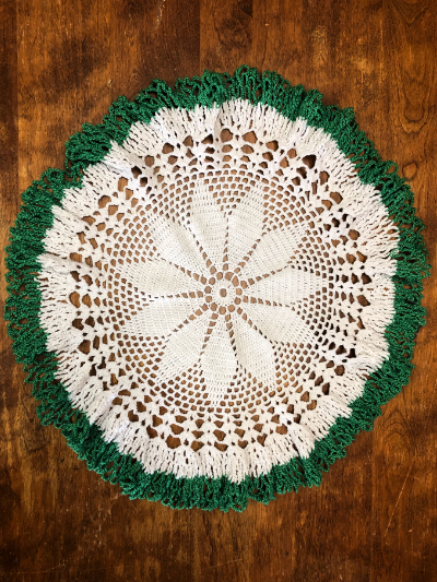 Vintage Crocheted Round Doily with Green Trim MAIN