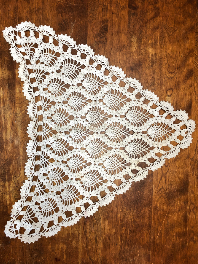 Vintage Crocheted Triangular Doily MAIN