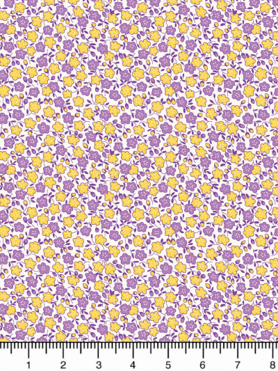 "Penny Rose ""Storytime 30s"" # C8454 Purple - Purple and Yellow Flowers MAIN"