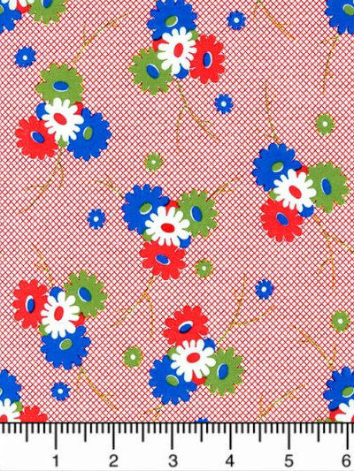 "Moda ""Sweet Harmony"" # 21753-11 - Red Daisy Dot - Red, Blue, White and Green Daisies on Red MAIN"