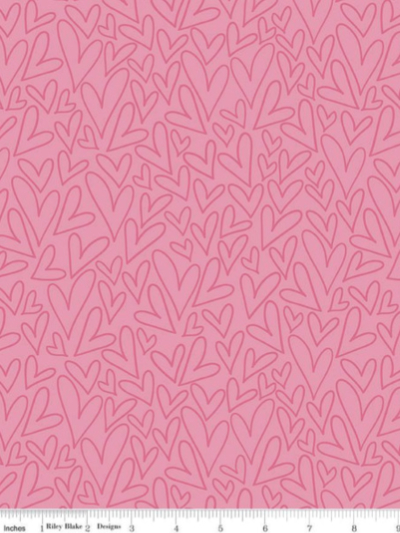 "Riley Blake ""Sending Love"" # C10082-PINK — Pink Hearts on Pink MAIN"