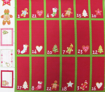 "Northcott ""Gingerbread Treats"" #20053 col. 24 - Gingerbread Advent Panel - PRICED PER PANEL MAIN"
