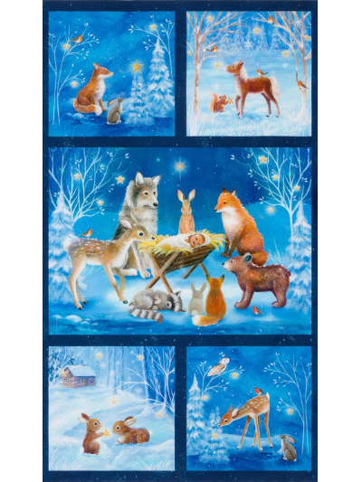 "Robert Kaufman ""Warm Wishes"" # AURD-18561-277-WINTER - Winter Night Woodland Animals Nativity Panel MAIN"