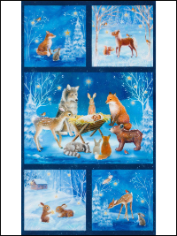 "Robert Kaufman ""Warm Wishes"" # AURD-18561-277-WINTER - Winter Night Woodland Animals Nativity Panel THUMBNAIL"