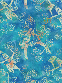 "Hoffman Fabrics ""Hand Painted Batik"" #K2449 col. 578 — Aqua with Peach and Celery Birds THUMBNAIL"
