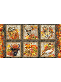 "In The Beginning Fabrics ""Our Autumn Friends"" # 1OAF-1 – Autumn Animal Panel THUMBNAIL"