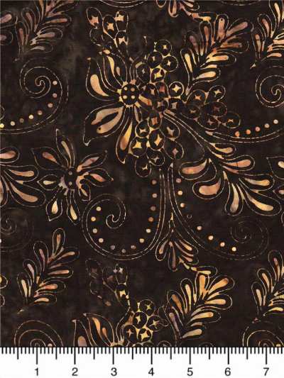 "Batik Textiles ""Moroccan Nights"" # 3162 - Brown with Floral Motifs MAIN"