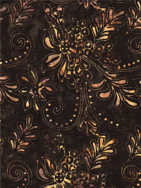 "Batik Textiles ""Moroccan Nights"" # 3162 - Brown with Floral Motifs THUMBNAIL"