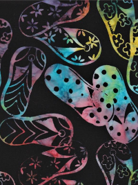 "Batik Textiles ""Spring 2019"" # 4801 - Multi Colored Flip Flops on Black THUMBNAIL"