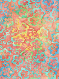 "Robert Kaufman ""Bright Blooms"" Batik # AMD-17762-356-Melon - Multi Flowers on Melon THUMBNAIL"