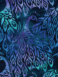 "Robert Kaufman ""Fancy Feathers 3"" Batik # AMD-19027-78 Peacock — Blue and Purple Peacocks on Teal THUMBNAIL"