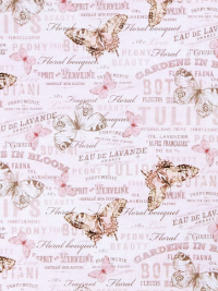 "Michael Miller ""Mon Ami"" # DCX8954-Crem-D - Butterflies and French Words on Pink THUMBNAIL"