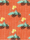 "Moda ""Bluebird Park"" #13103 col. 15 - Bicycles on Apricot Background SWATCH"