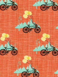 "Moda ""Bluebird Park"" #13103 col. 15 - Bicycles on Apricot Background THUMBNAIL"