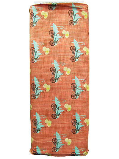 "Moda ""Bluebird Park"" #13103 col. 15 - Bicycles on Apricot Background MAIN"