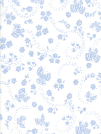 "Moda ""Sunday Picnic"" # 20677-27 - Blue Flowers and Butterflies on White THUMBNAIL"