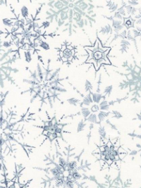 "Robert Kaufman ""Winter Shimmer"" # AJSP-18125-300-Storm - Blue-Gray Metallic Snowflakes on White THUMBNAIL"