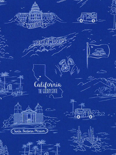 "Quilting Treasures ""California Here We"" #1649-24688-Y - California Landmarks on Blue MAIN"
