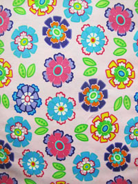 "Moda ""Ticklish"" #22192 col. 21 - Bright Flowers on Pink THUMBNAIL"