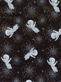 "Quilting Treasures ""Creepy Cute"" # 1649-23947-J Lot # 5454 - Casper and Spider Webs on Black THUMBNAIL"