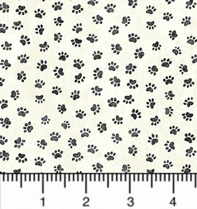 "Northcott ""You Had Me At Meow"" # 22164-11-Cream - Paw Prints MAIN"