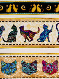 "QT Fabrics ""Purr-suasion"" # 1649-26643-X – Cat Decorative Stripe THUMBNAIL"