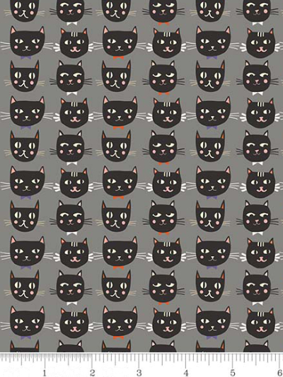"Riley Blake ""Cats, Bats and Jacks"" # GC-8051-GRAY - Cat Faces **GLOWS IN THE DARK** MAIN"