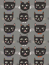 "Riley Blake ""Cats, Bats and Jacks"" # GC-8051-GRAY - Cat Faces **GLOWS IN THE DARK** THUMBNAIL"